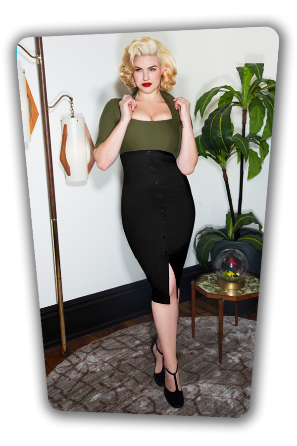 Glamour Bunny_Lexy Pencil Dress in Green and Black_25751_20180621_01