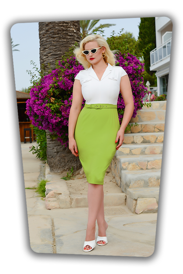 Lydia Dress in White and Green_1729S