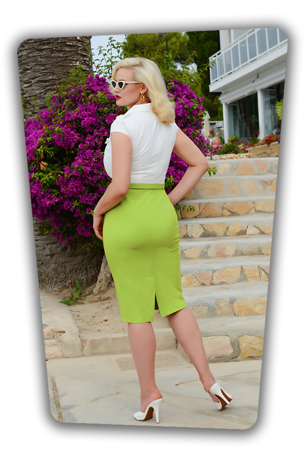 Lydia Dress in White and Green_1739S