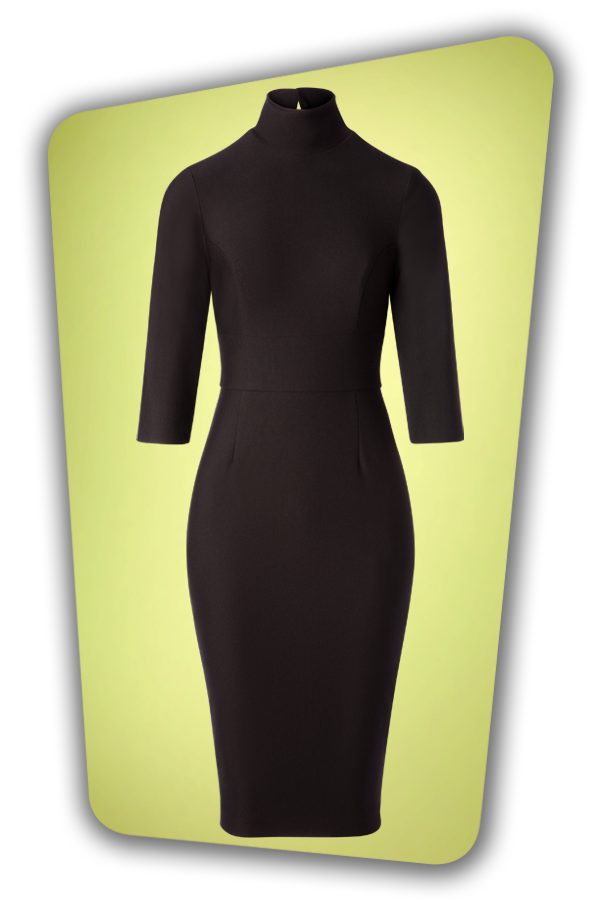 Glamour Bunny_29290_Secretary Pencil Dress in Black_20190408_004W
