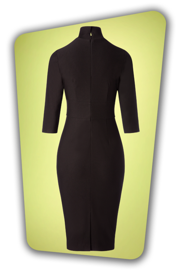 Glamour Bunny_29290_Secretary Pencil Dress in Black_20190408_007W