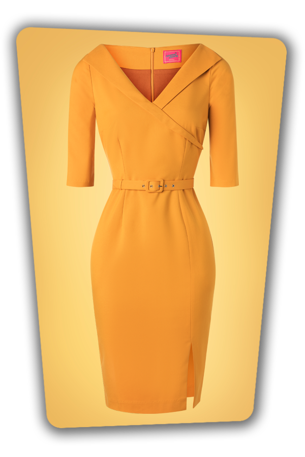 Glamour_Bunny_34715_Aviva Pencil dress Mustard Yellow_20191211_004
