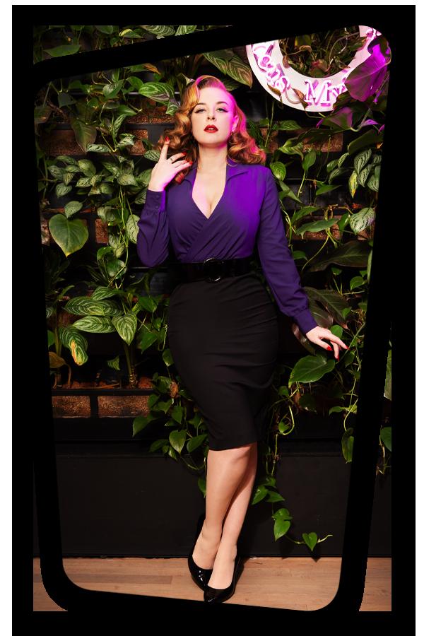 Glamour_Bunny_34724_Marly Pencil Dress_Purple Black_20200107_0018